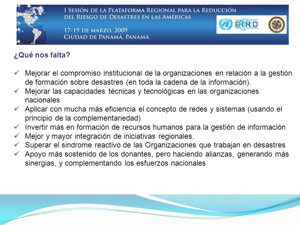 ¿Qué nos falta? Mejorar el compromiso institucional de la organizaciones en relación a la gestión de formación sobre desastres (en toda la cadena de l