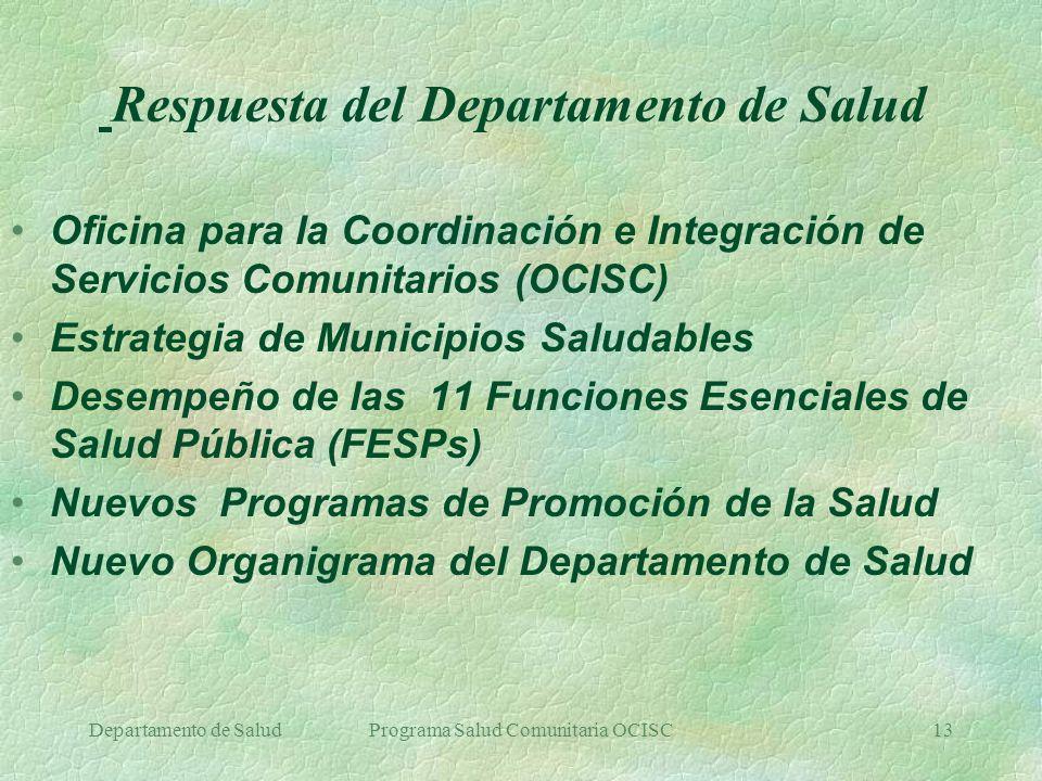 Departamento de SaludPrograma Salud Comunitaria OCISC13 Respuesta del Departamento de Salud Oficina para la Coordinación e Integración de Servicios Co