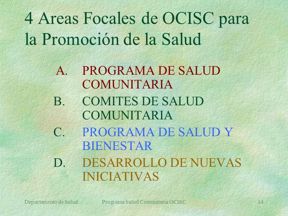 Departamento de SaludPrograma Salud Comunitaria OCISC14 4 Areas Focales de OCISC para la Promoción de la Salud A. PROGRAMA DE SALUD COMUNITARIA B. COM