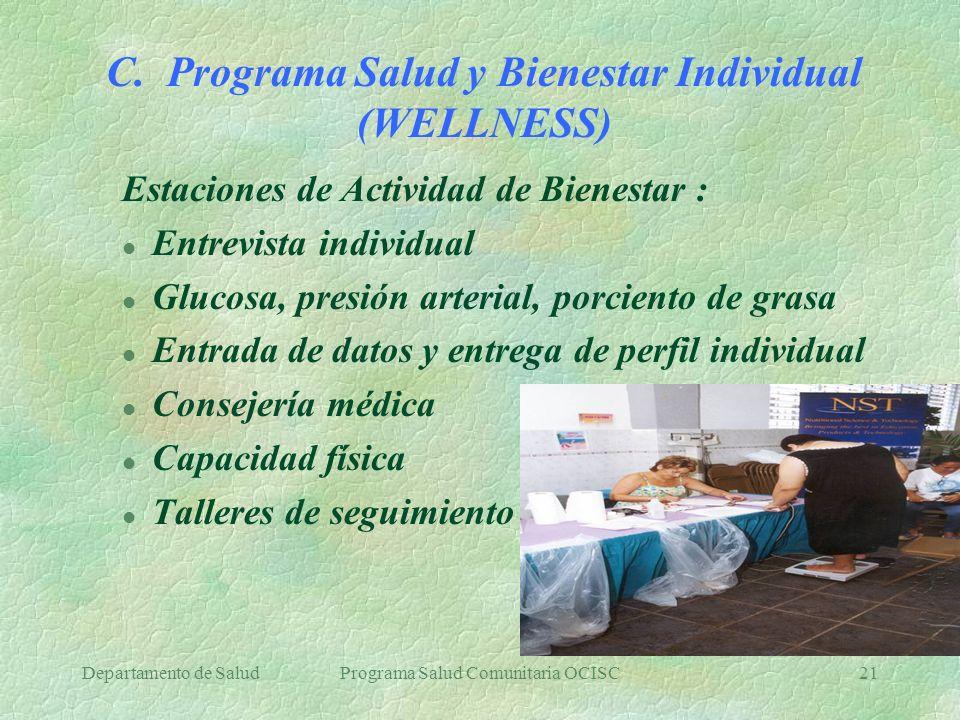 Departamento de SaludPrograma Salud Comunitaria OCISC21 C. Programa Salud y Bienestar Individual (WELLNESS) Estaciones de Actividad de Bienestar : l E