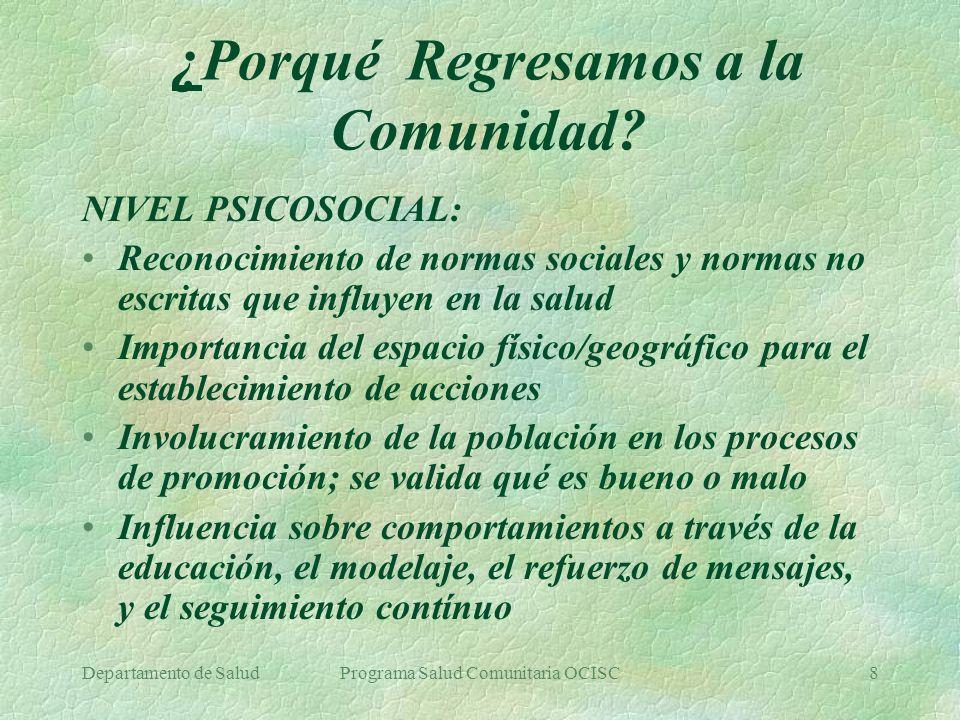 Departamento de SaludPrograma Salud Comunitaria OCISC19 B.