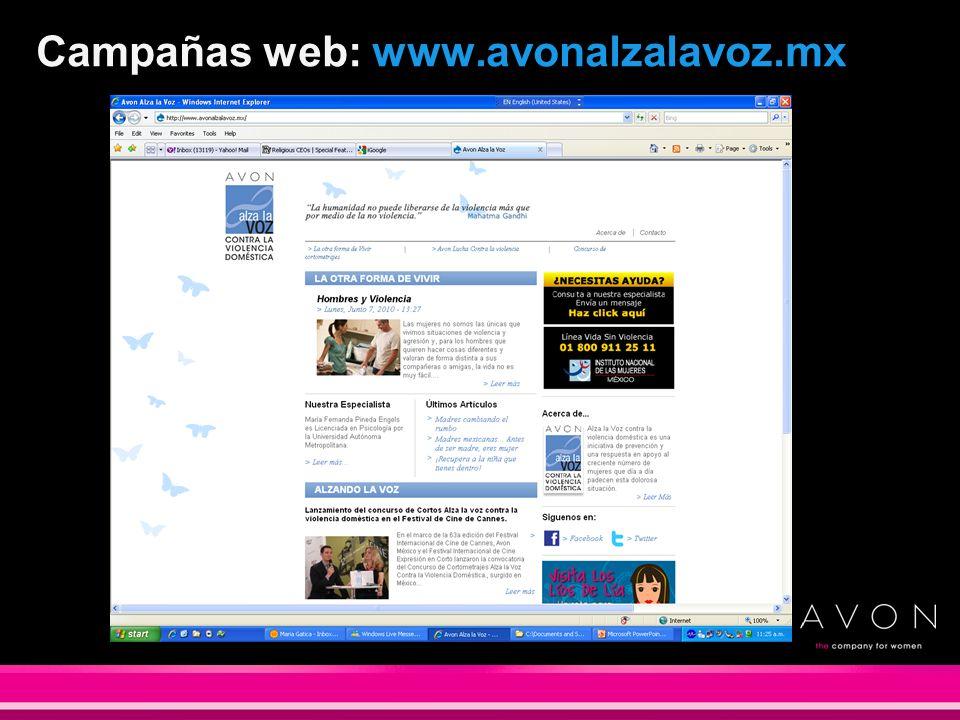 Campañas web: www.avonalzalavoz.mx