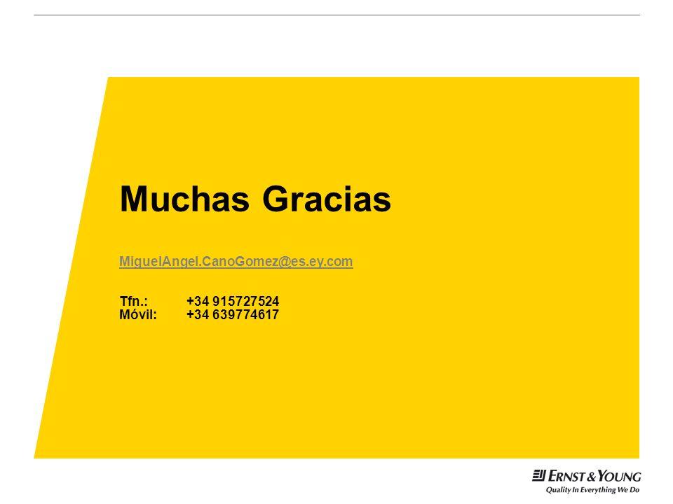 Muchas Gracias MiguelAngel.CanoGomez@es.ey.com Tfn.:+34 915727524 Móvil: +34 639774617 MiguelAngel.CanoGomez@es.ey.com