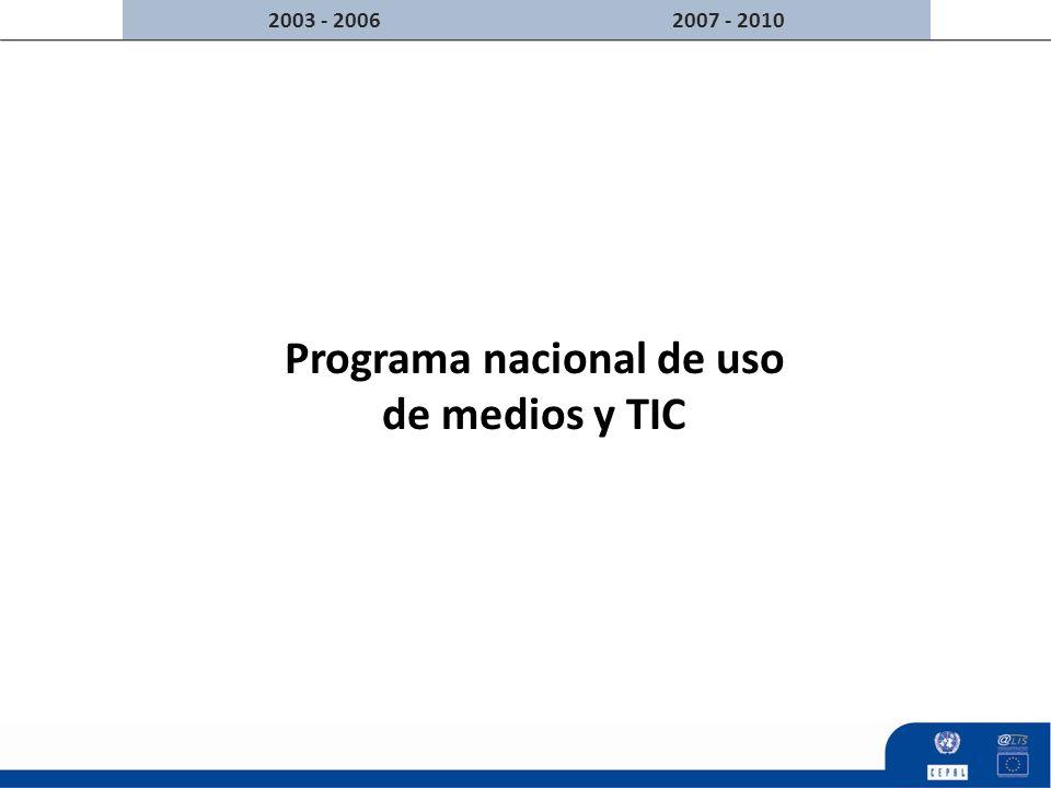 Programa nacional de uso de medios y TIC 2007 - 20102003 - 2006