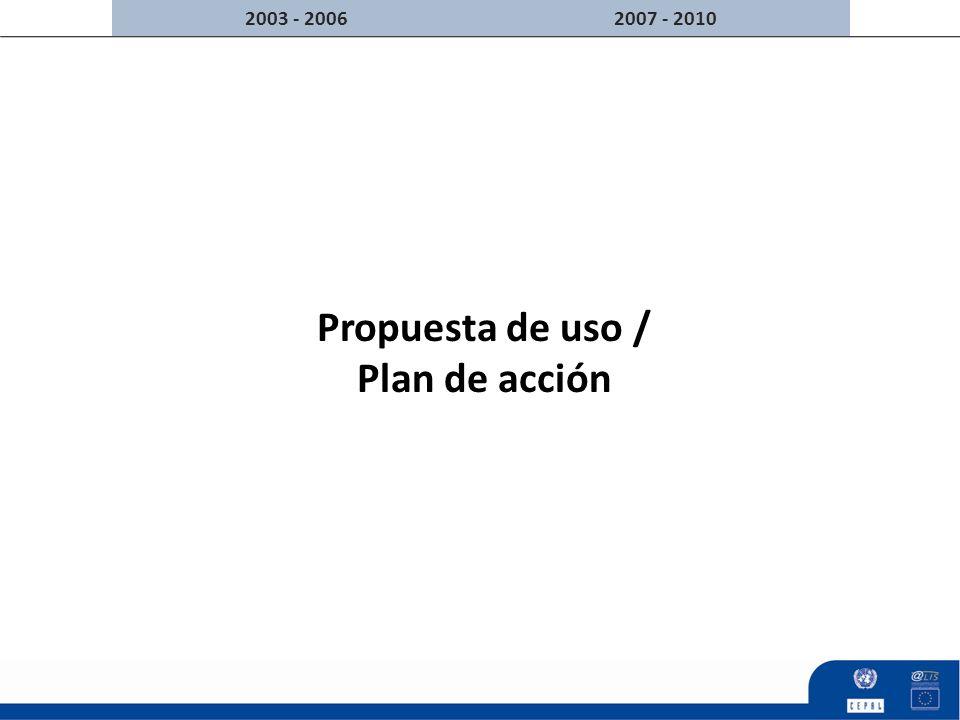 Propuesta de uso / Plan de acción 2007 - 20102003 - 2006