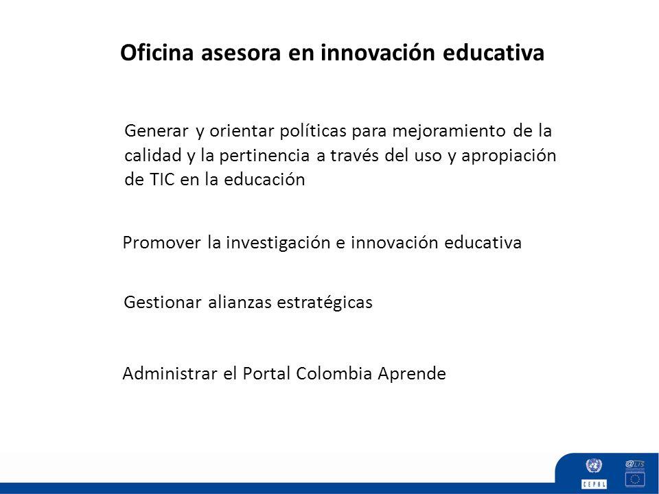 Promover la investigación e innovación educativa Generar y orientar políticas para mejoramiento de la calidad y la pertinencia a través del uso y apro