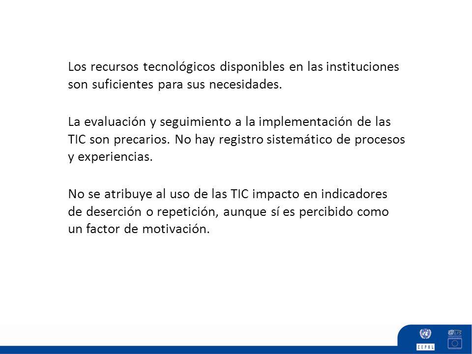 Los recursos tecnológicos disponibles en las instituciones son suficientes para sus necesidades. No se atribuye al uso de las TIC impacto en indicador