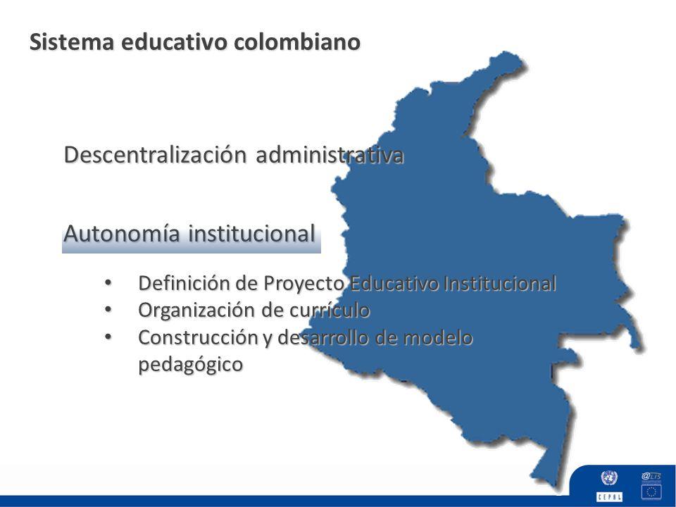 Sistema educativo colombiano Autonomía institucional Descentralización administrativa Definición de Proyecto Educativo Institucional Definición de Pro