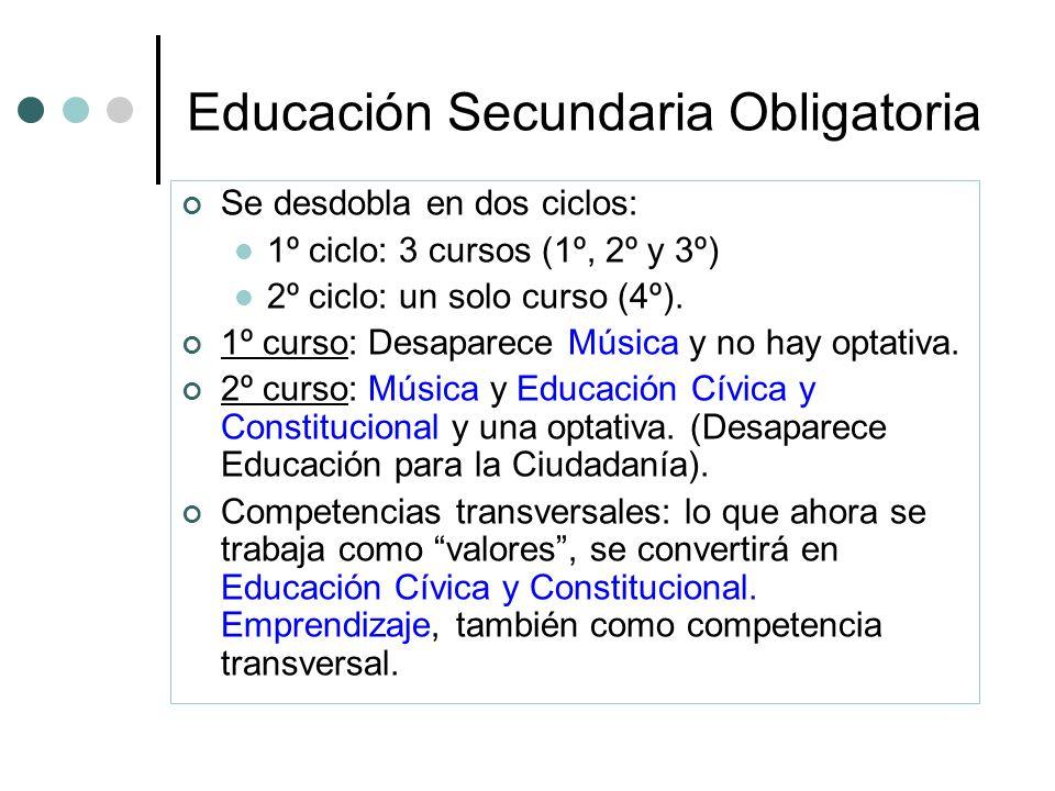 Educación Secundaria Obligatoria Se desdobla en dos ciclos: 1º ciclo: 3 cursos (1º, 2º y 3º) 2º ciclo: un solo curso (4º). 1º curso: Desaparece Música