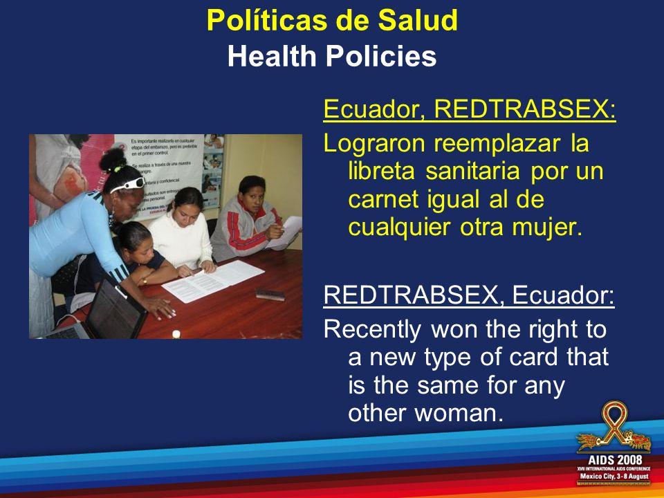 Políticas de Salud Health Policies Ecuador, REDTRABSEX: Lograron reemplazar la libreta sanitaria por un carnet igual al de cualquier otra mujer. REDTR
