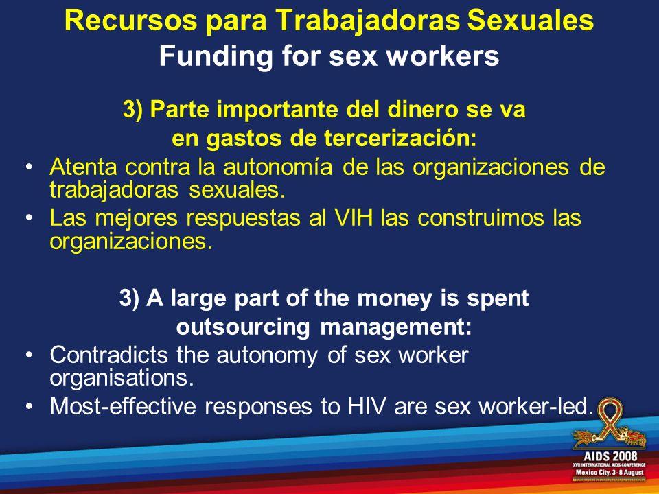 Recursos para Trabajadoras Sexuales Funding for sex workers 3) Parte importante del dinero se va en gastos de tercerización: Atenta contra la autonomí