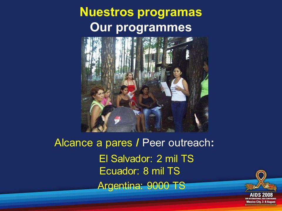Nuestros programas Our programmes Alcance a pares / Peer outreach: El Salvador: 2 mil TS Ecuador: 8 mil TS Argentina: 9000 TS