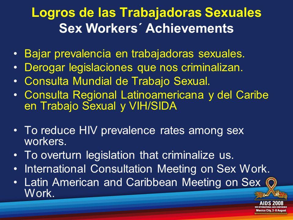 Logros de las Trabajadoras Sexuales Sex Workers´ Achievements Bajar prevalencia en trabajadoras sexuales. Derogar legislaciones que nos criminalizan.