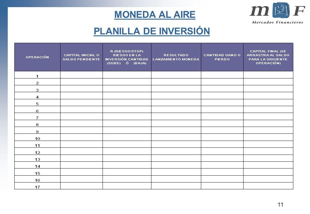 11 PLANILLA DE INVERSIÓN MONEDA AL AIRE