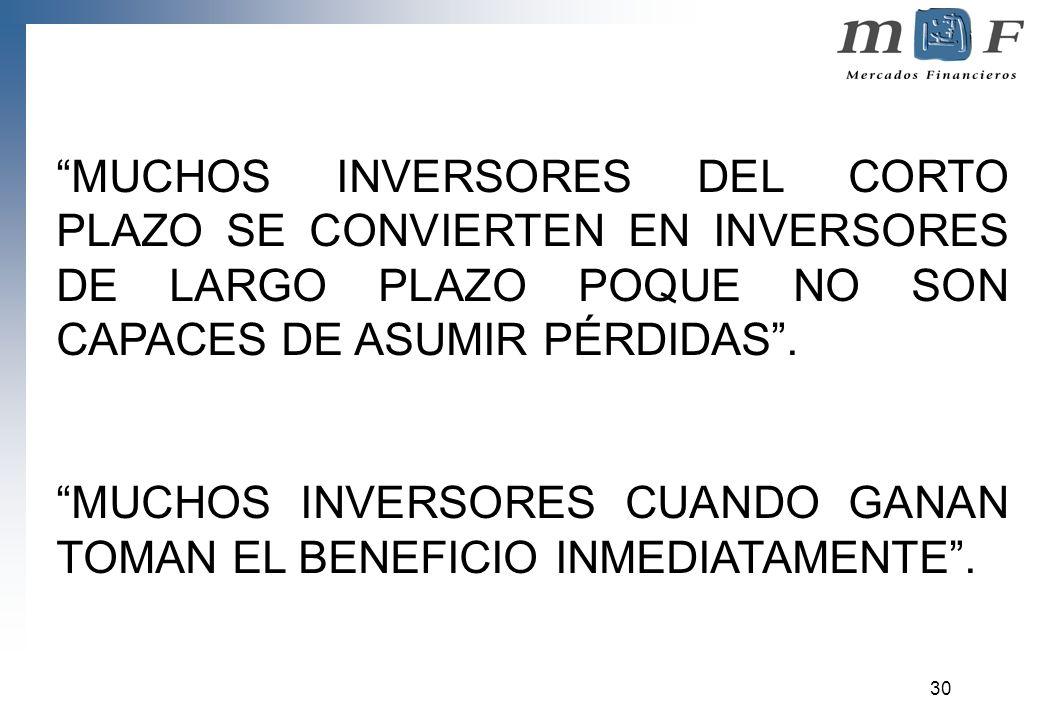 30 MUCHOS INVERSORES DEL CORTO PLAZO SE CONVIERTEN EN INVERSORES DE LARGO PLAZO POQUE NO SON CAPACES DE ASUMIR PÉRDIDAS. MUCHOS INVERSORES CUANDO GANA