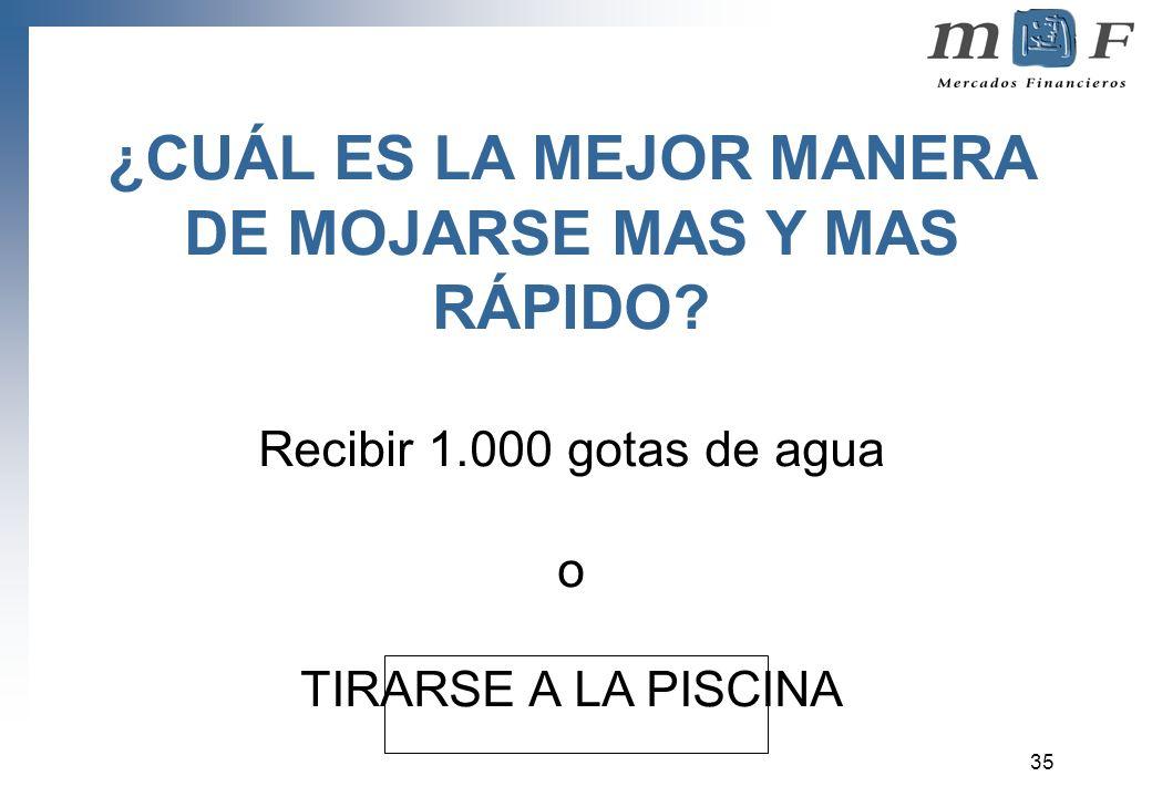 35 ¿CUÁL ES LA MEJOR MANERA DE MOJARSE MAS Y MAS RÁPIDO? Recibir 1.000 gotas de agua o TIRARSE A LA PISCINA