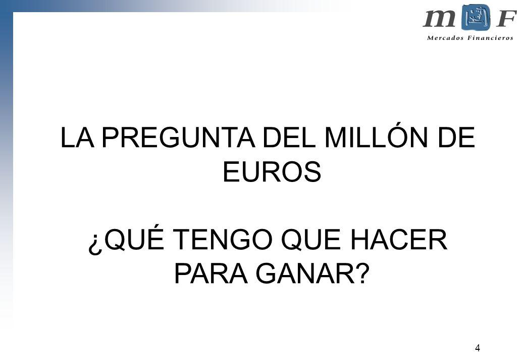 4 LA PREGUNTA DEL MILLÓN DE EUROS ¿QUÉ TENGO QUE HACER PARA GANAR?
