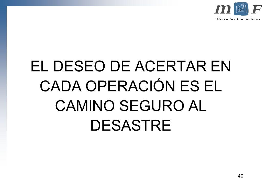 40 EL DESEO DE ACERTAR EN CADA OPERACIÓN ES EL CAMINO SEGURO AL DESASTRE