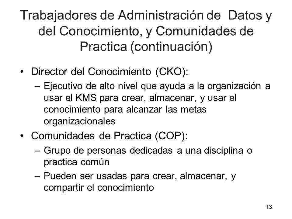 13 Trabajadores de Administración de Datos y del Conocimiento, y Comunidades de Practica (continuación) Director del Conocimiento (CKO): –Ejecutivo de