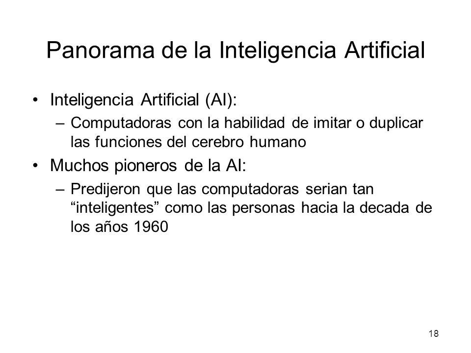 18 Panorama de la Inteligencia Artificial Inteligencia Artificial (AI): –Computadoras con la habilidad de imitar o duplicar las funciones del cerebro