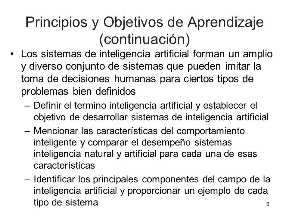 Principios y Objetivos de Aprendizaje (continuación) Los sistemas de inteligencia artificial forman un amplio y diverso conjunto de sistemas que puede