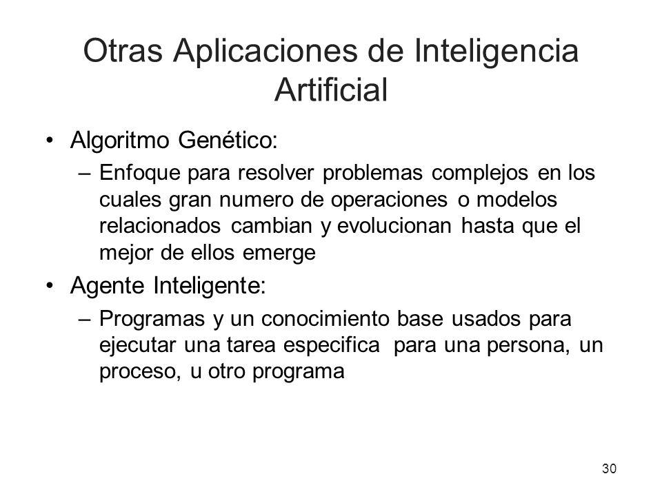 Otras Aplicaciones de Inteligencia Artificial Algoritmo Genético: –Enfoque para resolver problemas complejos en los cuales gran numero de operaciones