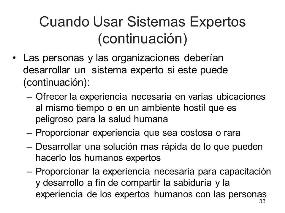 Cuando Usar Sistemas Expertos (continuación) Las personas y las organizaciones deberían desarrollar un sistema experto si este puede (continuación): –
