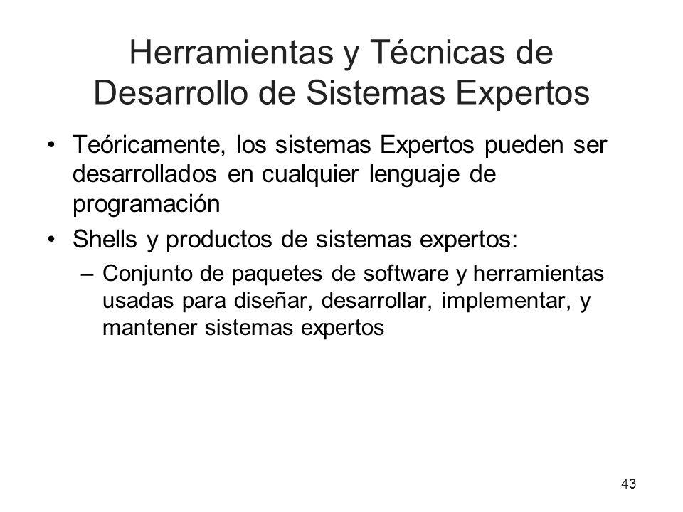 43 Herramientas y Técnicas de Desarrollo de Sistemas Expertos Teóricamente, los sistemas Expertos pueden ser desarrollados en cualquier lenguaje de pr