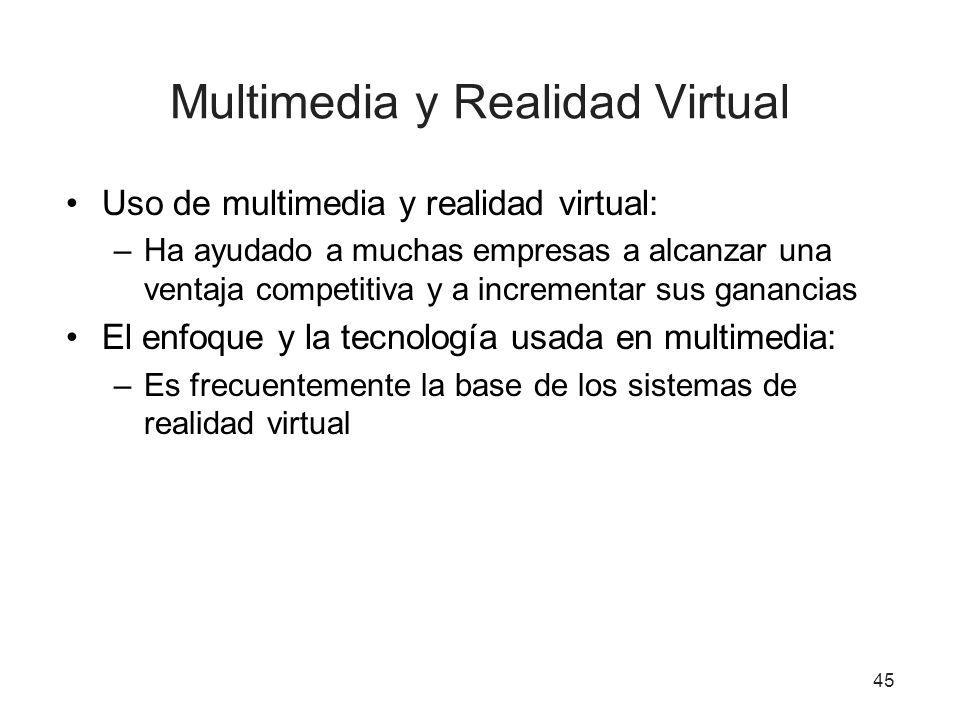 Multimedia y Realidad Virtual Uso de multimedia y realidad virtual: –Ha ayudado a muchas empresas a alcanzar una ventaja competitiva y a incrementar s