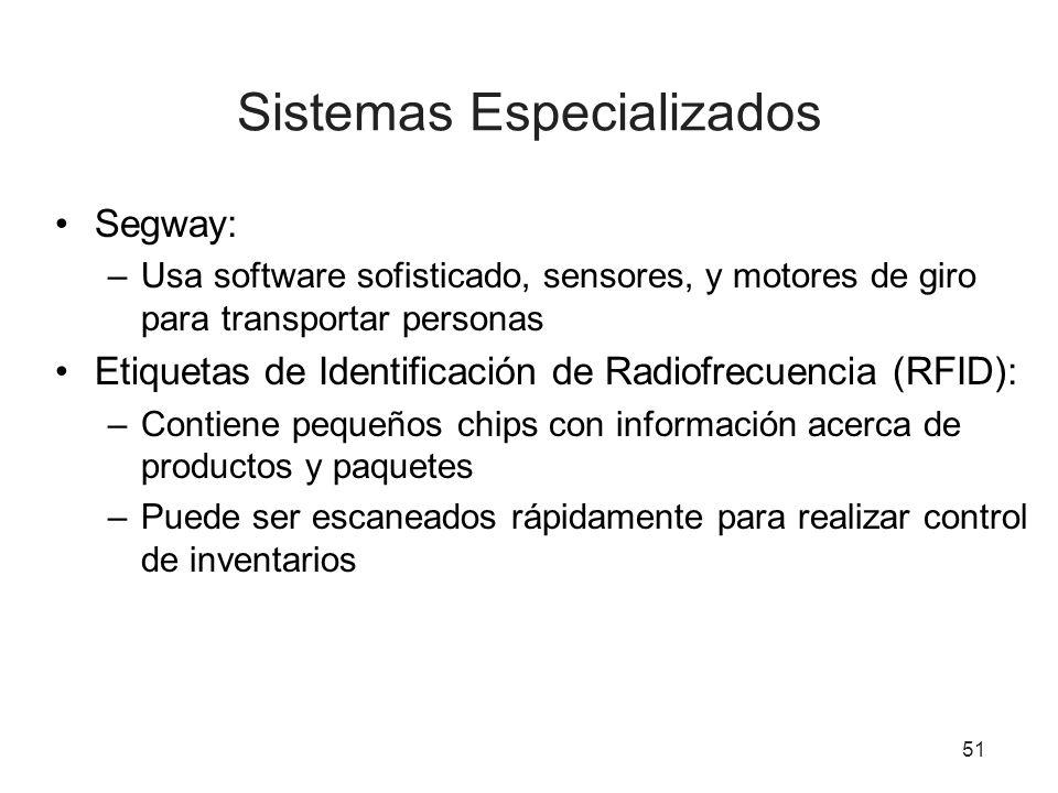 51 Sistemas Especializados Segway: –Usa software sofisticado, sensores, y motores de giro para transportar personas Etiquetas de Identificación de Rad