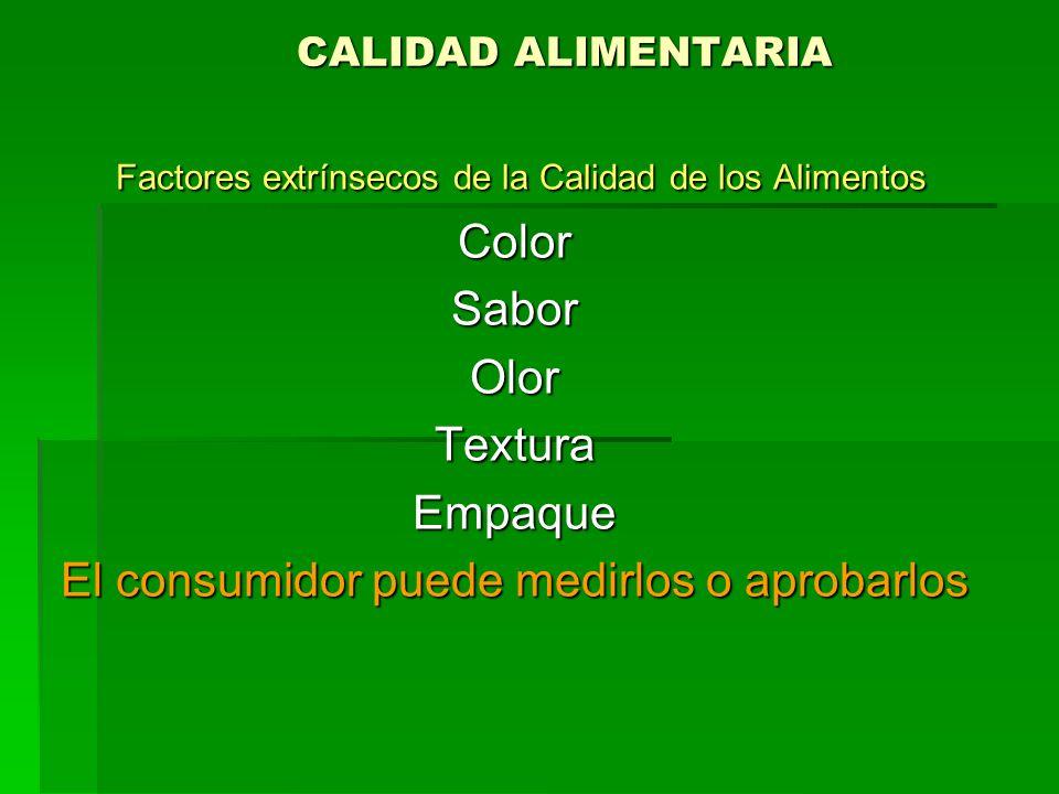 CALIDAD ALIMENTARIA Factores extrínsecos de la Calidad de los Alimentos Factores extrínsecos de la Calidad de los AlimentosColorSaborOlorTexturaEmpaqu