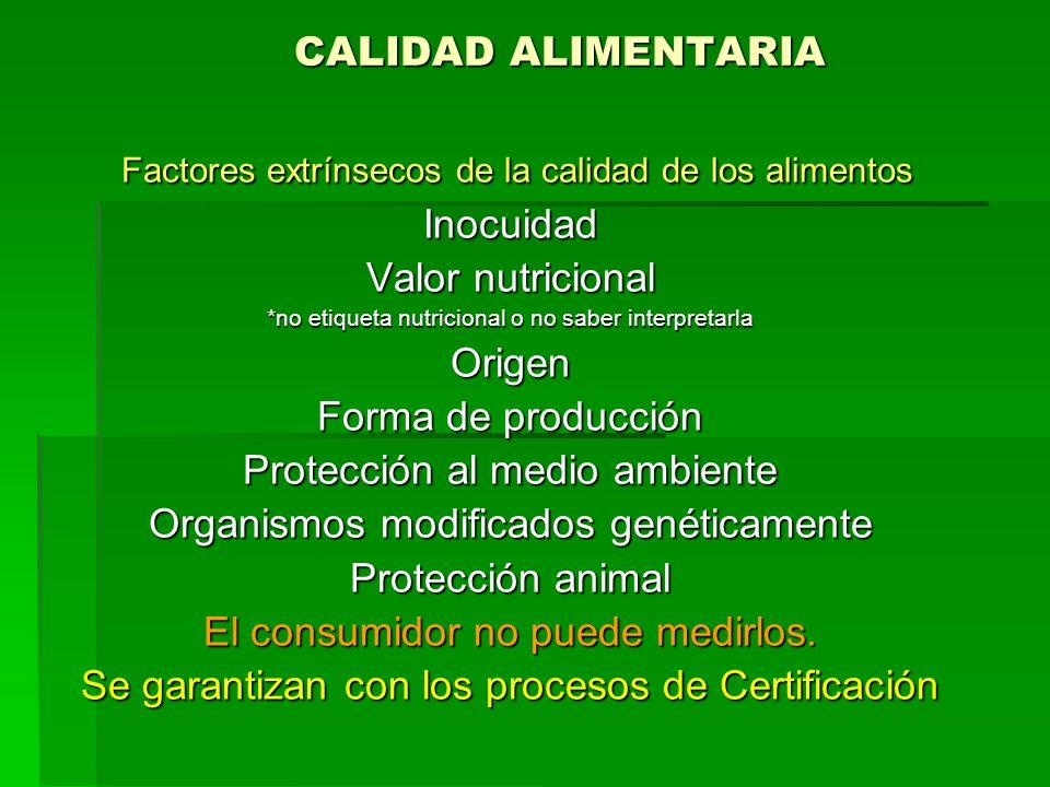 CALIDAD ALIMENTARIA Factores extrínsecos de la calidad de los alimentos Factores extrínsecos de la calidad de los alimentosInocuidad Valor nutricional