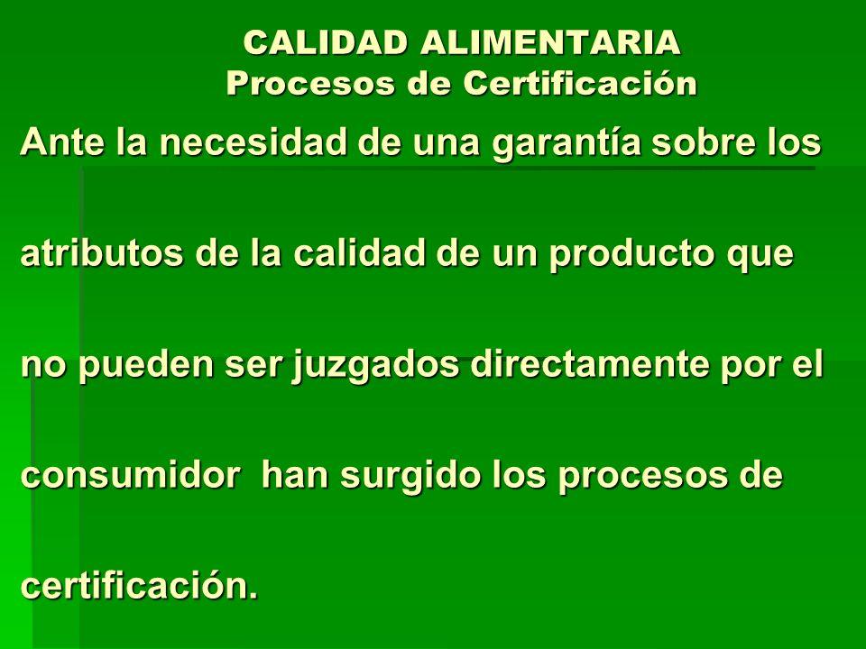 CALIDAD ALIMENTARIA Procesos de Certificación Ante la necesidad de una garantía sobre los Ante la necesidad de una garantía sobre los atributos de la