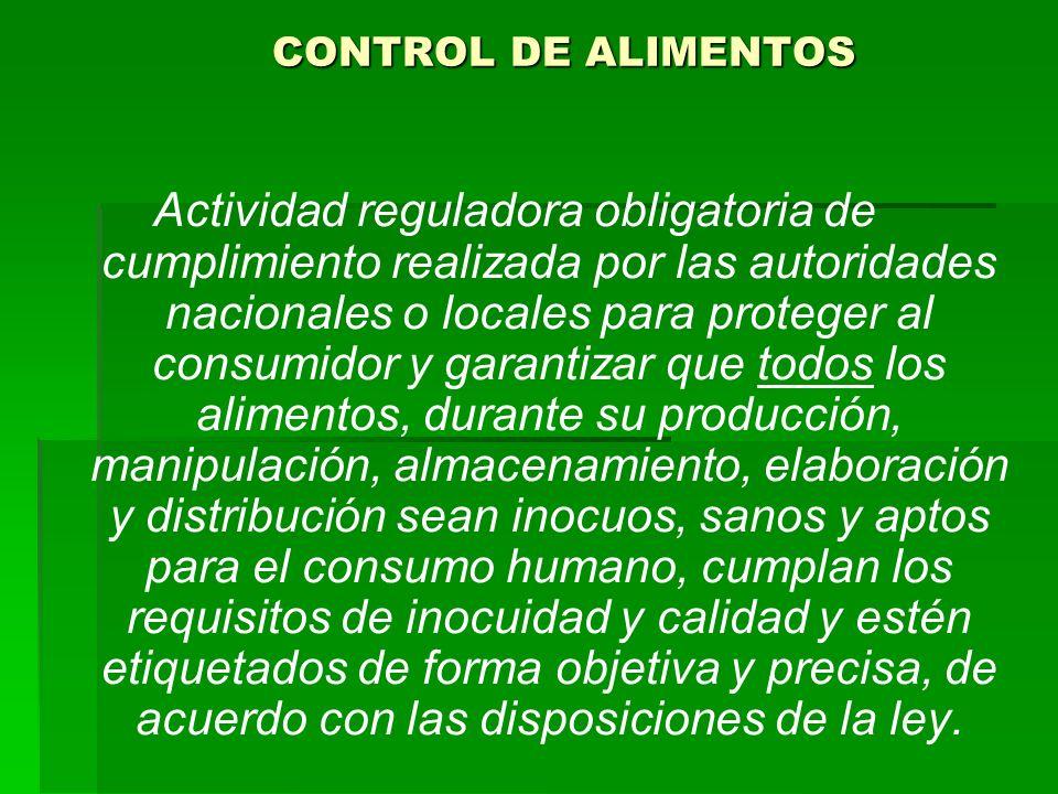 CONTROL DE ALIMENTOS Actividad reguladora obligatoria de cumplimiento realizada por las autoridades nacionales o locales para proteger al consumidor y