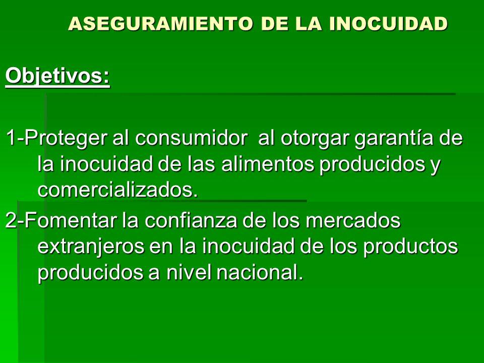 ASEGURAMIENTO DE LA INOCUIDAD Objetivos: 1-Proteger al consumidor al otorgar garantía de la inocuidad de las alimentos producidos y comercializados. 2