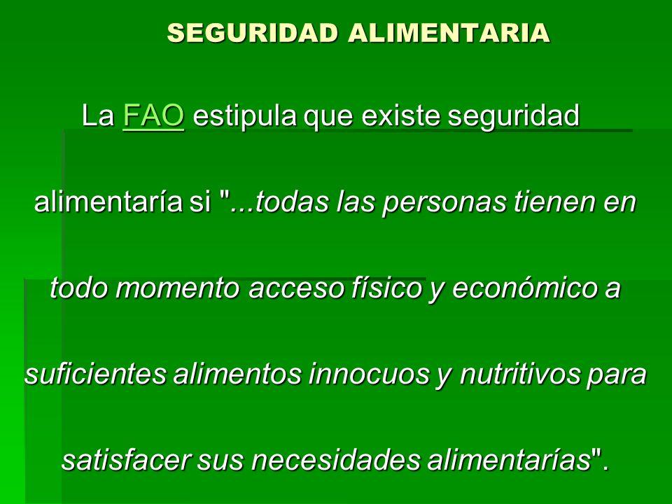 SEGURIDAD ALIMENTARIA La FAO estipula que existe seguridad FAO alimentaría si