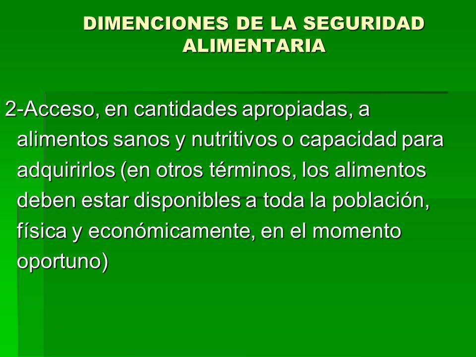 DIMENCIONES DE LA SEGURIDAD ALIMENTARIA 2-Acceso, en cantidades apropiadas, a alimentos sanos y nutritivos o capacidad para alimentos sanos y nutritiv