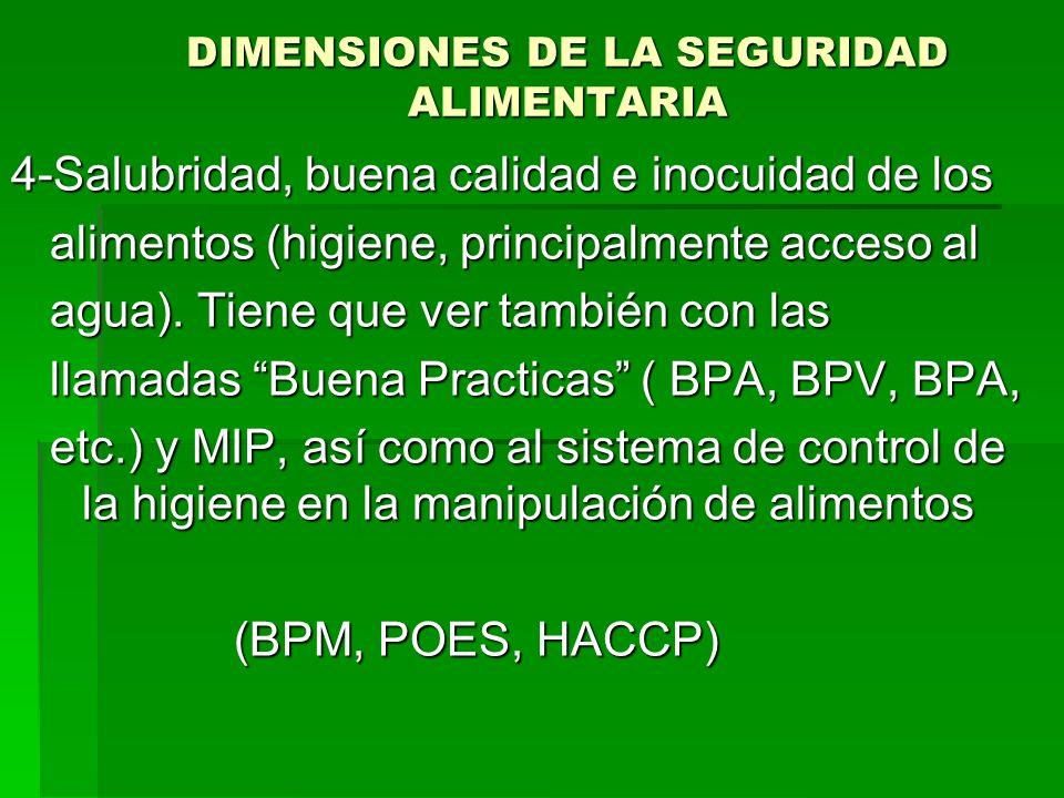 DIMENSIONES DE LA SEGURIDAD ALIMENTARIA 4-Salubridad, buena calidad e inocuidad de los alimentos (higiene, principalmente acceso al alimentos (higiene