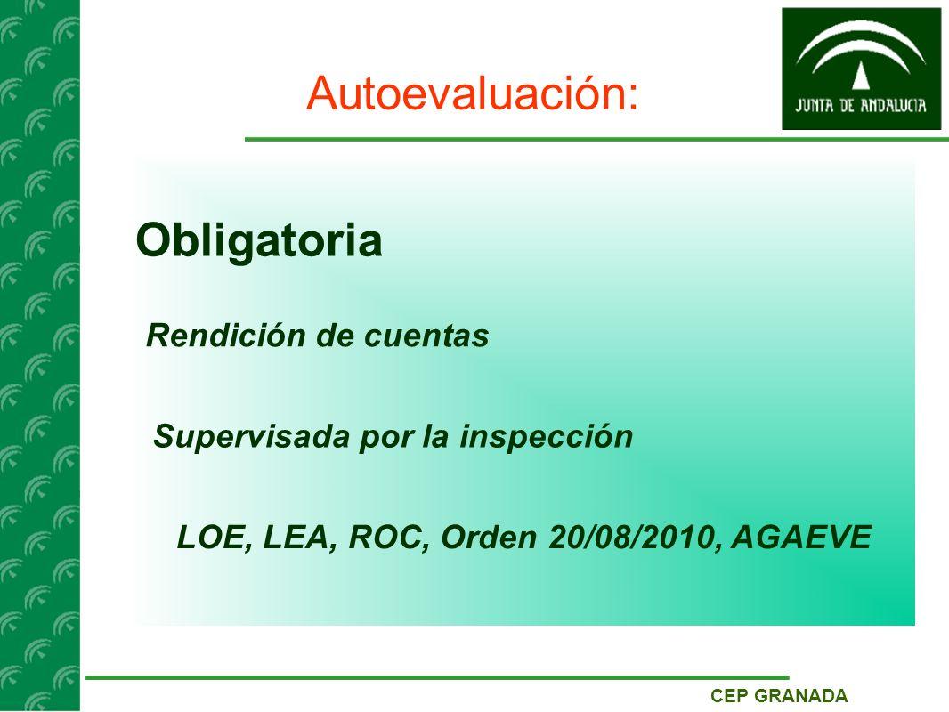 CEP GRANADA Autoevaluación: Obligatoria Rendición de cuentas Supervisada por la inspección LOE, LEA, ROC, Orden 20/08/2010, AGAEVE