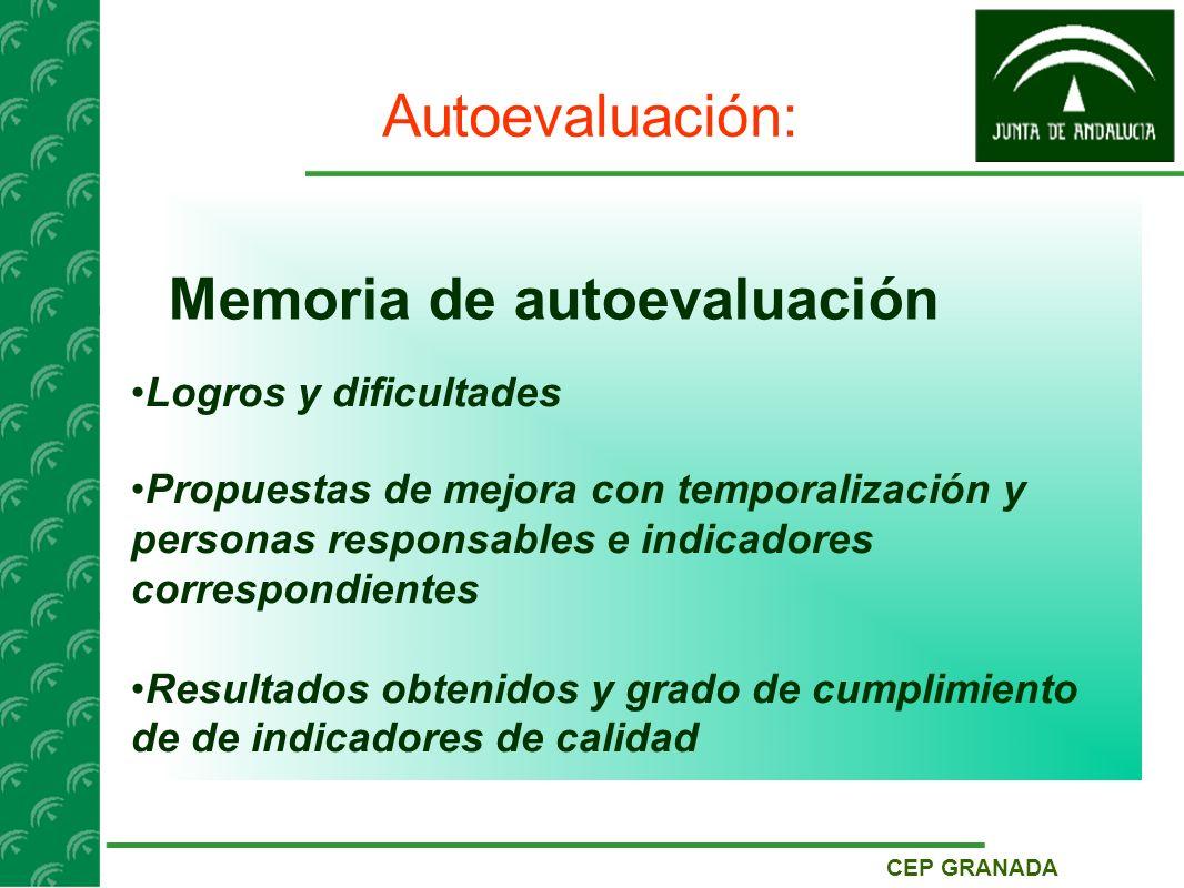 CEP GRANADA Autoevaluación: Memoria de autoevaluación Logros y dificultades Propuestas de mejora con temporalización y personas responsables e indicadores correspondientes Resultados obtenidos y grado de cumplimiento de de indicadores de calidad