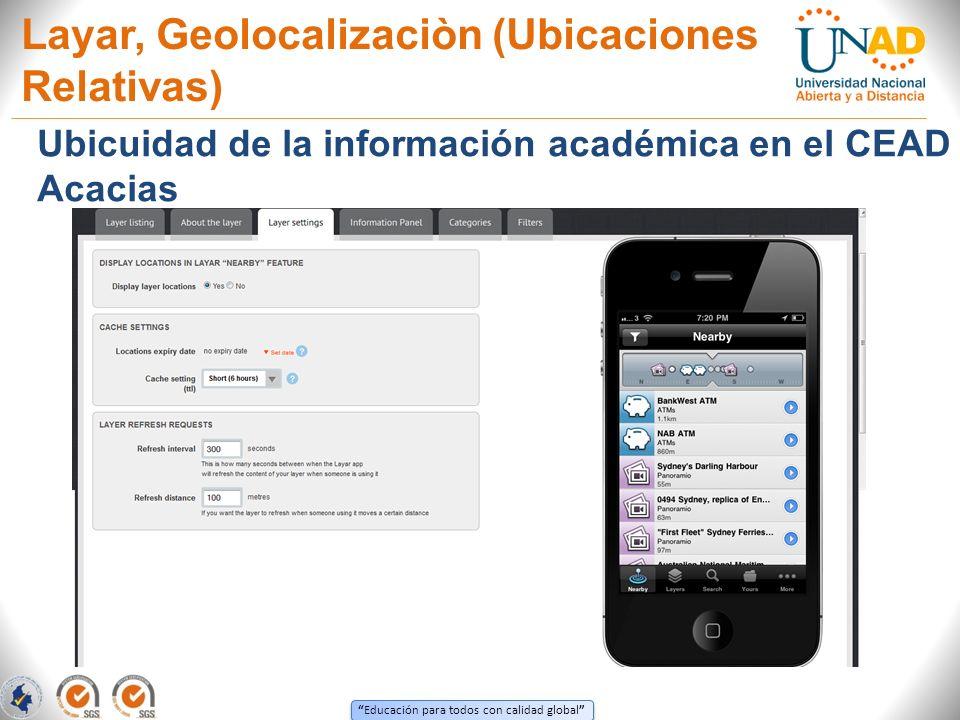 Educación para todos con calidad global Layar, Geolocalizaciòn (Ubicaciones Relativas) Ubicuidad de la información académica en el CEAD Acacias