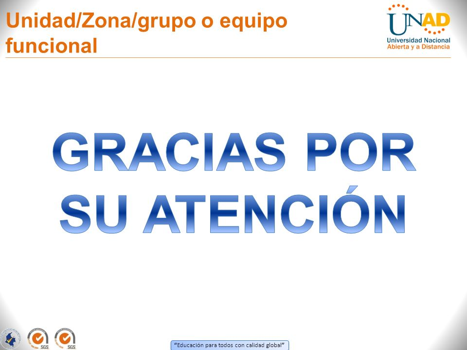Educación para todos con calidad global Unidad/Zona/grupo o equipo funcional