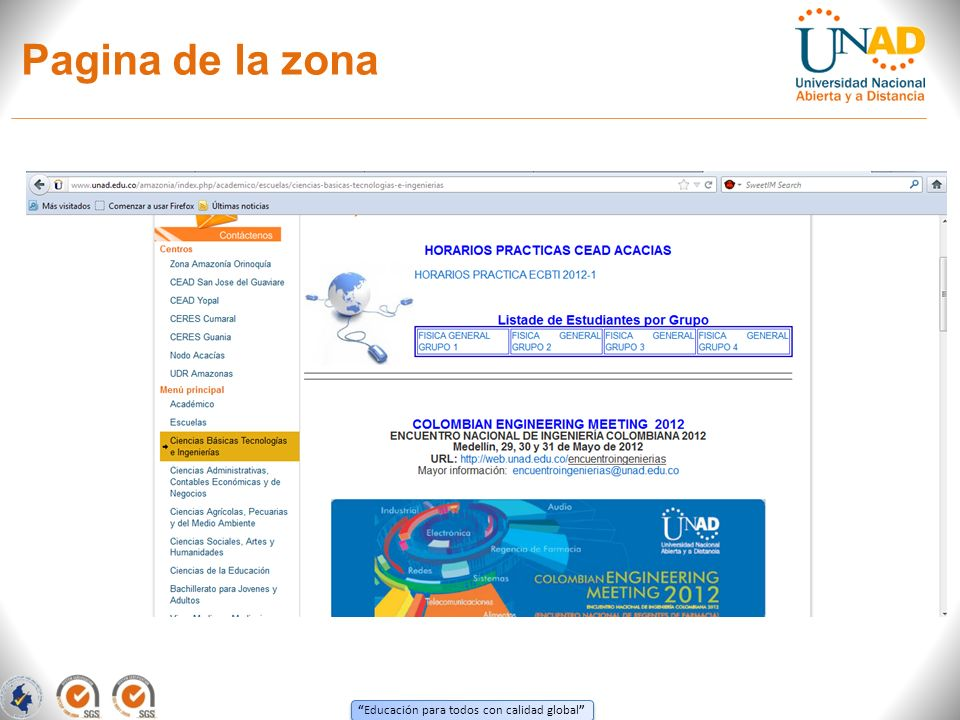 Educación para todos con calidad global Pagina de la zona
