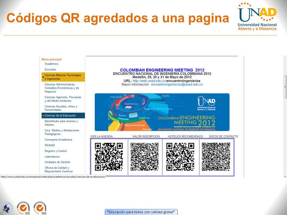 Educación para todos con calidad global Códigos QR agredados a una pagina