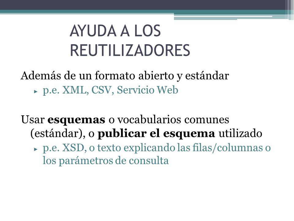 AYUDA A LOS REUTILIZADORES Además de un formato abierto y estándar p.e. XML, CSV, Servicio Web Usar esquemas o vocabularios comunes (estándar), o publ