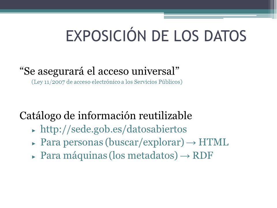EXPOSICIÓN DE LOS DATOS Se asegurará el acceso universal (Ley 11/2007 de acceso electrónico a los Servicios Públicos) Catálogo de información reutiliz
