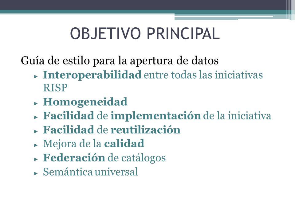 OBJETIVO PRINCIPAL Guía de estilo para la apertura de datos Interoperabilidad entre todas las iniciativas RISP Homogeneidad Facilidad de implementació