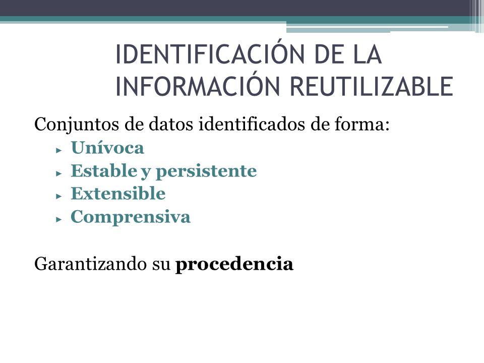 IDENTIFICACIÓN DE LA INFORMACIÓN REUTILIZABLE Conjuntos de datos identificados de forma: Unívoca Estable y persistente Extensible Comprensiva Garantiz
