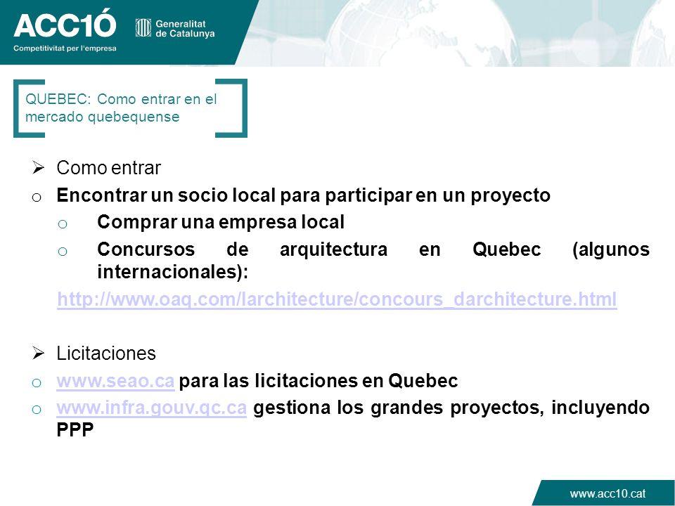 www.acc10.cat Como entrar o Encontrar un socio local para participar en un proyecto o Comprar una empresa local o Concursos de arquitectura en Quebec