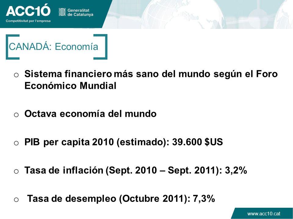 www.acc10.cat CANADÁ: Economía o Sistema financiero más sano del mundo según el Foro Económico Mundial o Octava economía del mundo o PIB per capita 20